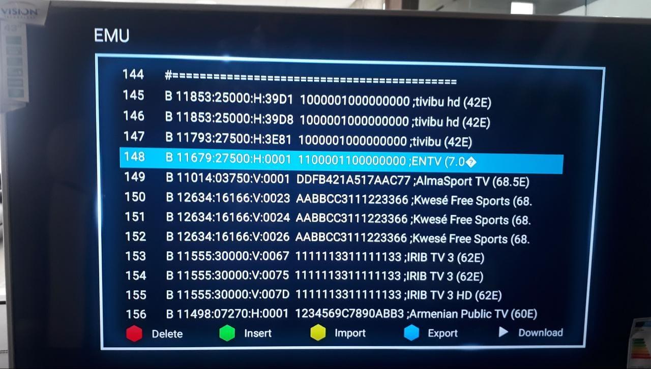 طريقة ادخال BISS لتلفاز الذكي Vision 43 أول تلفاز مع جهاز استقبال بسيرفر مدمج