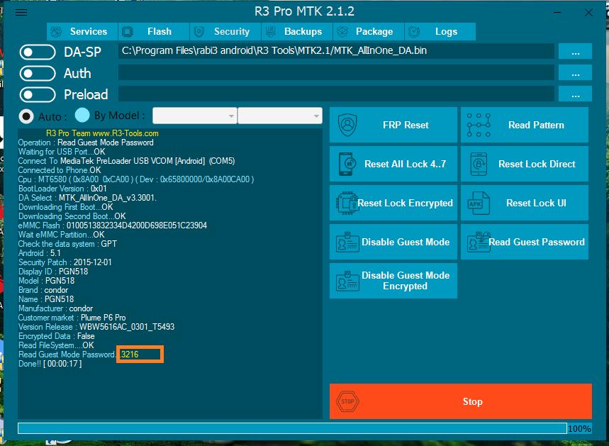 قراءة رمز وضع الضيف ( gues mode -mode invité) على العملاق r3 pro